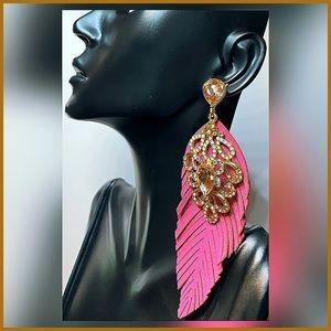 🏷 🆕 Noir Palm Leaf Jeweled Gold & Pink Earrings